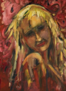 """Red Tourmaline Oil on Canvas Paper 12""""x16"""""""