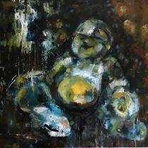 "Golden Opulence, 2018 30""x30"" Oil on Canvas $1500"