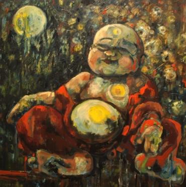 "Golden Opulence, 2019 30""x30"" Oil on Canvas $2500"